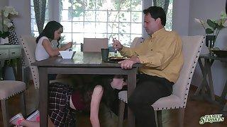 Jackie Rogen is observing elder sister sucking stepdad's cock under the table