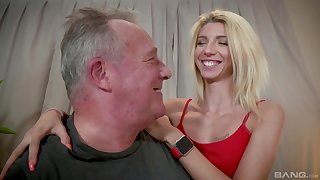 Caring blonde Missy Luv lends her body to an older man's awe