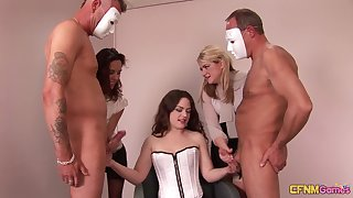 Two covered dudes get jerked off by kinky brunette Ella James