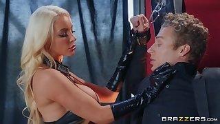 Kinky fuzz ball poppet Nicolette Shea and her sex slave Michael Vegas