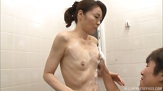 Small boobs Japanese chick Asou Chiharu drops on say no to knees to blow