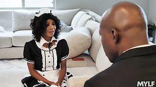 Black man fucks his horny maid September Reigh in transmitted to wet cunt
