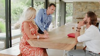 Nerdy baffle stretches awesome stepsister with huge melons