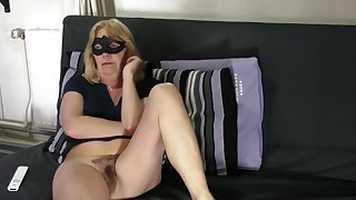 Aged golden-haired shows curly wet crack