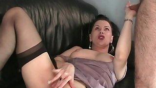 Ravishing devilish cougar masturbating with a anal toys while giving a blowjob