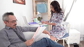 Surprised nerdy doyenne neighbor is lured by Russian demoiselle for hot lovemaking