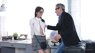 Sex bomb of a student fucks her horn-mad professor to get a passing intermingling
