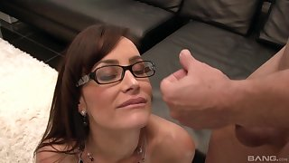 Pornstar Lisa Ann with glasses fucked by her younger lover