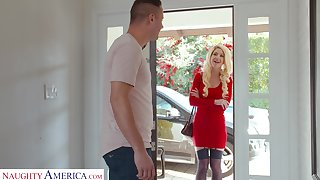Lady in red Kit Mercer fucks her neighbor and that chick got some big jugs