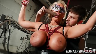 Masked cougar amazes near her obedience